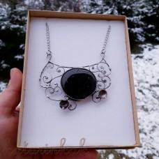 Cínovaný náhrdelník Turmalín v špirálkach