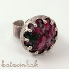 Cínovaný prsteň - Rubín Zoisit