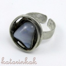 Cínovaný prsteň - Chalcedón v hniezde