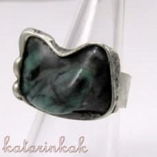 Cínovaný prsteň - Smaragd