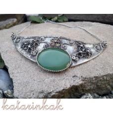 Cínovaný náhrdelník Štvorlístok s avanturínom