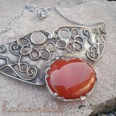 Cínovaný náhrdelník - Karneol