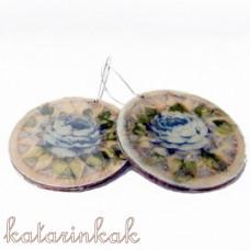 Náušnice drevené slniečka - modré ruže